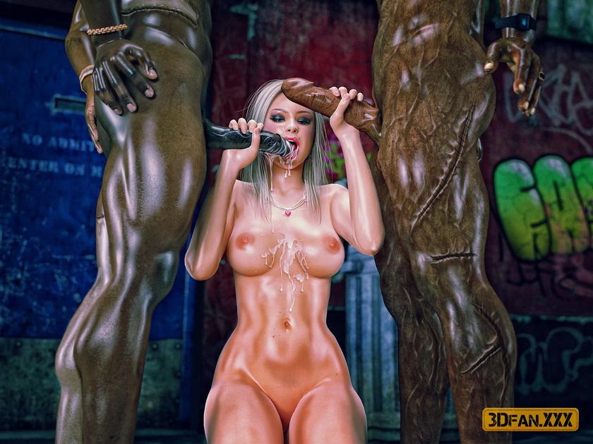Ebony Monster Sex 3D scene